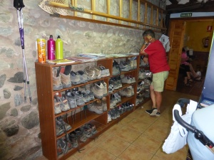 The boot / shoe room. All pilgrims remove their out door footwear in the auberge where accommodation  is less than $15 a night. We ate at one tonight where the accommodation was less than $7