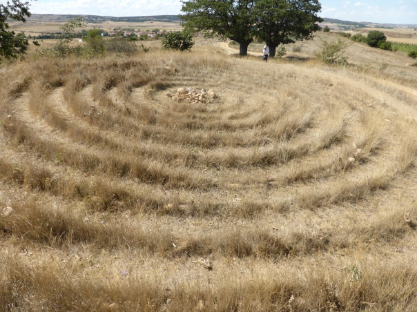 Pilgrims leave some strange signs.... here concentric circles, the largest 50 feet in diameter
