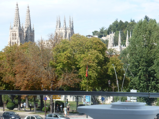 The beautiful scene we entered Burgos  - fall colours   and the 800 year old cathedral on the horizon