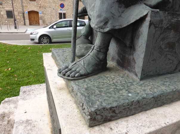 Picture of the foot of a pilgrim from the Middle Ages. Note the sandal ... from our experience it has most on today's market beat!