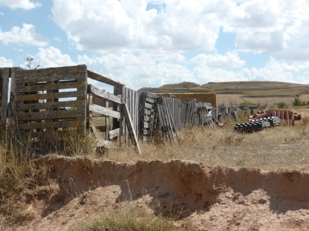 first (ever) wooden fence that we have seen in Spain, especially unusual here on the Meseta where trees simply do not exist. This was made from shipping pallets!