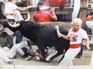 A photo in a coffee shop of last years Running of the Bulls...  No thanks!