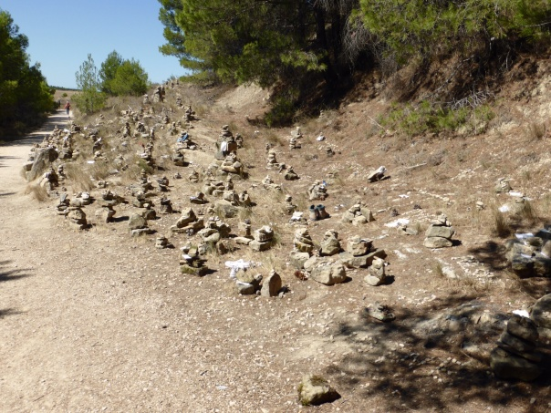 As we have pointed out before, inukshuks (milladoiros in Spain) are  a common  sight on the Camino - but this was the largest collection yet. Many have a note (sometimes plasticized) paying tribute to a lost loved one or a note of successfully dealing with an issue