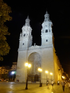 La Redonda - cathedral in Logrono, just next door to our hotel. Thought it looked so beautiful at night.