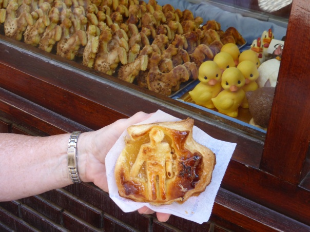 """Called the """"Ahorcaditos"""" - a local specialty - an almond pastry depicting the Pilgrim on the Camino Shell. Very good!"""