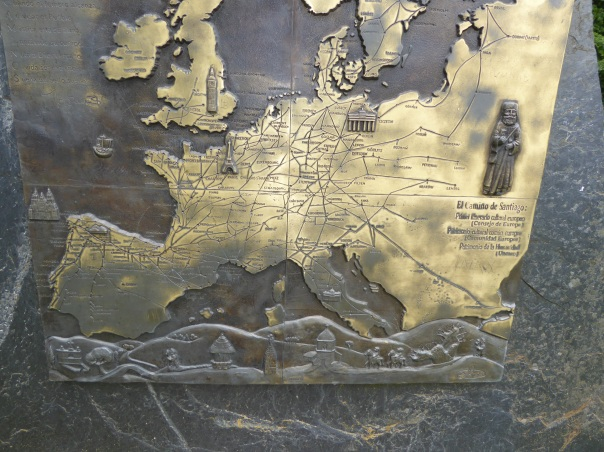 At the peak of O Cebeiro a map showing all the pilgrim routes from all over Europe, converging on Santiago