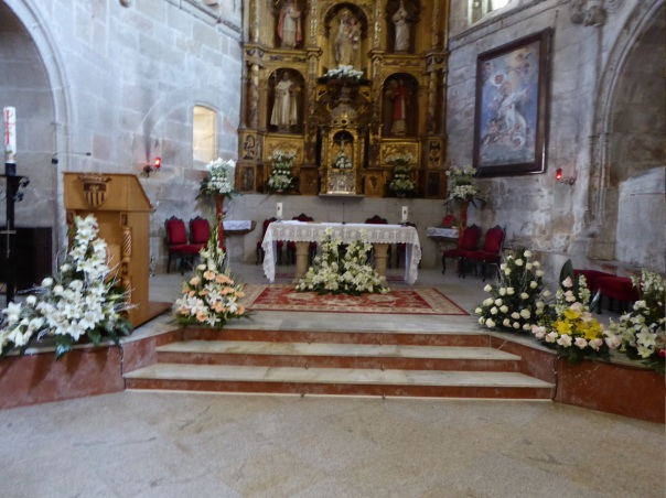 The alter at the Mary Magdalen Monastery. All of those flowers are fresh, such a smell so sweet and cool, you could have been in a garden.
