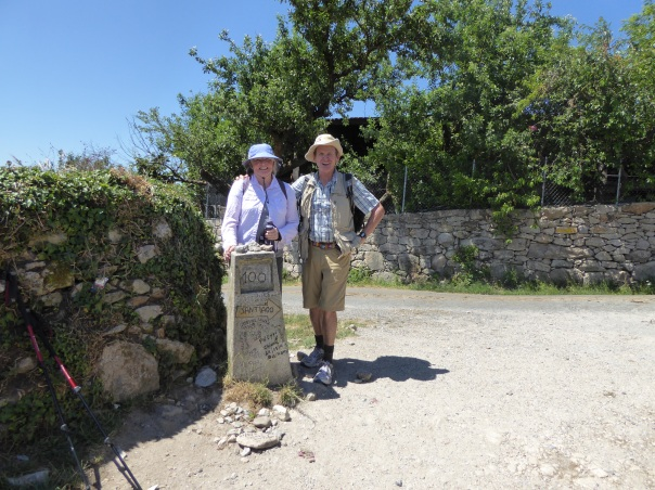 At the 100 km to Santiago marker. A total of about 850 km of walking behind us.