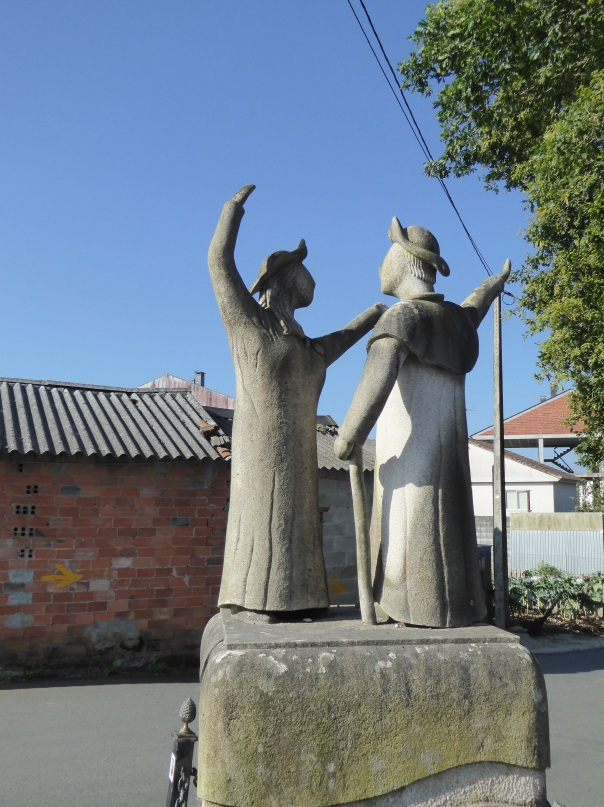 Not too sure about why the nun is dancing with the pilgrim here but it is an interesting Camino statue.