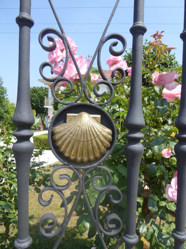 All along the Camino home owners pay tribute to the trail by displaying the Camino shell in some way.  Often it is in a fence, just like this. And of course there are always roses, by far the most prolific flower everywhere along the route.