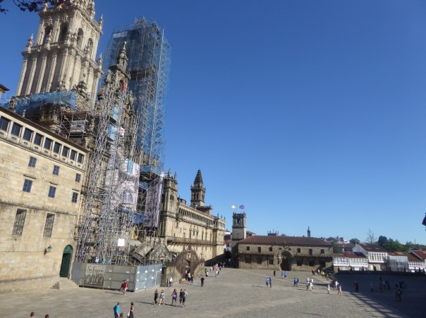 The view of the square in front of the Cathedral  of Santiago, the exact