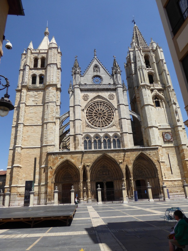 The Cathedral of Leon, started almost a thousand years ago with a stained glass rose window of modelled after Notre Dame de Paris