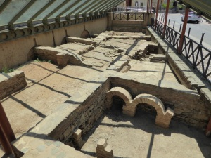 Excavitation of Roman buildings which showed remarkable engineering: including heated water and heated floors, separate areas for spas, cooking and sleeping.