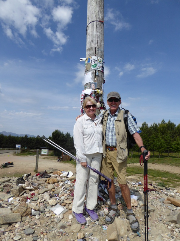 At the 4888 foot summit - the Cruz de Ferro ( Iron Cross)
